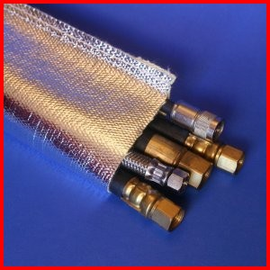 aluminum foil coated fiberglass sewn sleeve heat reflective wire cable hose protection